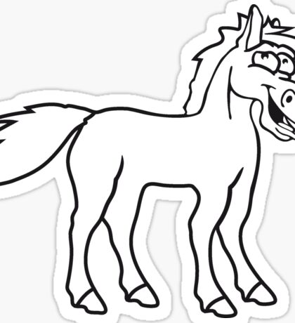 funny silly crazy comic cartoon horse laugh silly stallion donkey Sticker