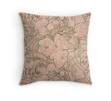 Mucha Peonies Apricot Throw Pillow