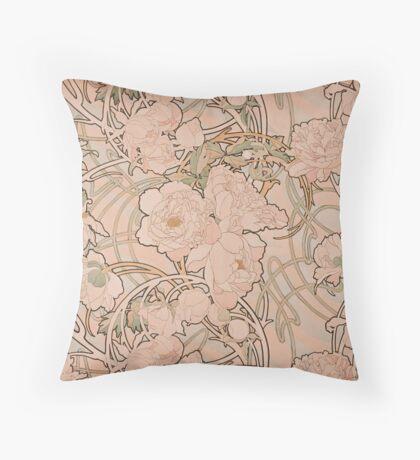 Mucha Peonies Apricot Throw Pillow