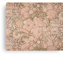 Mucha Peonies Apricot Canvas Print