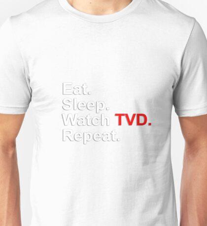 Eat, Sleep, Watch TVD, Repeat {FULL} Unisex T-Shirt