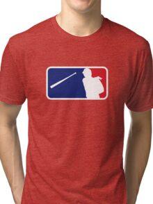Jose Bautista bat flip MLB logo Tri-blend T-Shirt