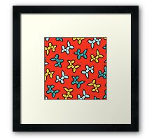 Balloon Animal Dogs Pattern in Red Framed Print