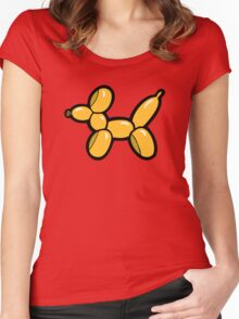 Balloon Animal Dogs Pattern in Red Women's Fitted Scoop T-Shirt