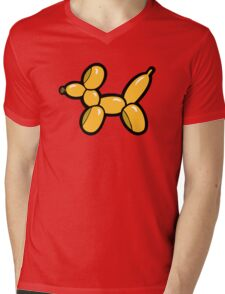 Balloon Animal Dogs Pattern in Red Mens V-Neck T-Shirt
