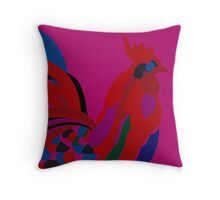 Abstract Rooster Art Throw Pillow in Hot Pink Throw Pillow
