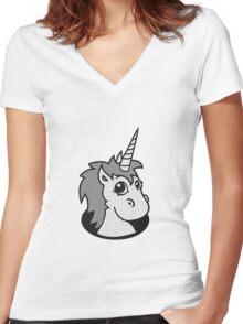 hole unicorn unicorn foal sweet cute sitting comic cartoon pony horse pferdchen kawaii child girl baby Women's Fitted V-Neck T-Shirt