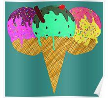 Three Scoop Cone Poster