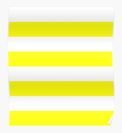 Yellow and White Stripes Poster