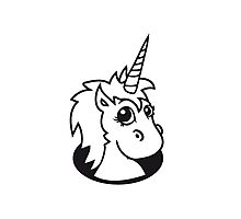 hole unicorn unicorn foal sweet cute sitting comic cartoon pony horse pferdchen kawaii child girl baby Photographic Print