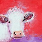 White Cow painting on red background by MatsonArtDesign