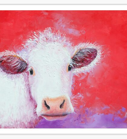 White Cow painting on red background Sticker