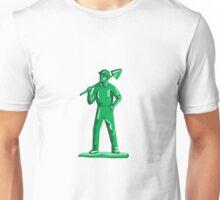 Green Miner Holding Shovel Retro Unisex T-Shirt