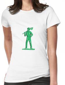 Green Miner Holding Shovel Retro Womens Fitted T-Shirt