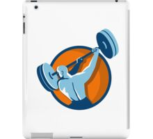 Weightlifter Swinging Barbell Back View Circle Retro iPad Case/Skin