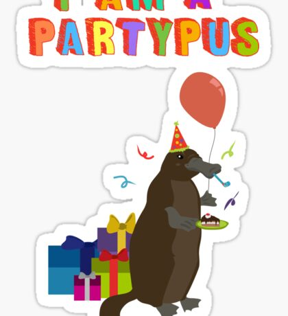 A platypus who loves to party Sticker