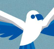 white & blue bird Sticker