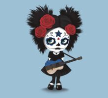 Sugar Skull Girl Playing Estonian Flag Guitar Kids Tee