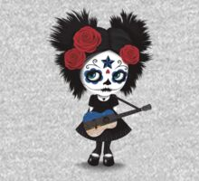 Sugar Skull Girl Playing Estonian Flag Guitar One Piece - Long Sleeve