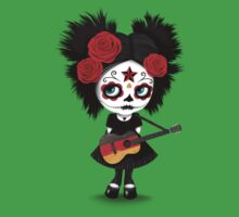 Sugar Skull Girl Playing German Flag Guitar One Piece - Short Sleeve