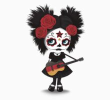 Sugar Skull Girl Playing German Flag Guitar One Piece - Short Sleeve