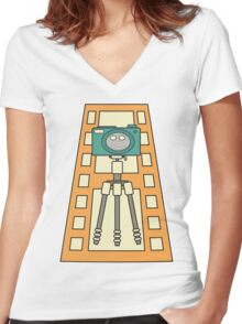 Kawaii camera on film Women's Fitted V-Neck T-Shirt
