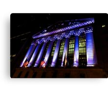 Purple New York Stock Exchange at Night - Impressions Of Manhattan Canvas Print
