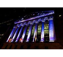 Purple New York Stock Exchange at Night - Impressions Of Manhattan Photographic Print