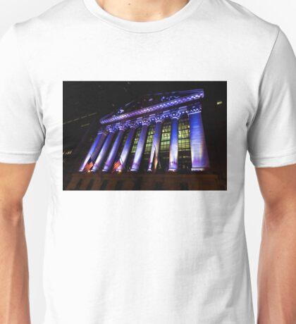Purple New York Stock Exchange at Night - Impressions Of Manhattan Unisex T-Shirt