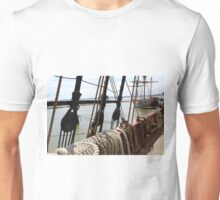Onboard a moored old ship.  Unisex T-Shirt