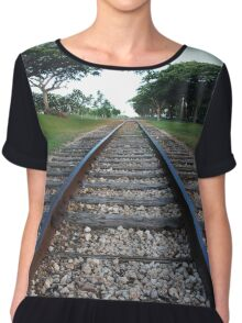 Railway track in perspective  Chiffon Top