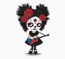 Sugar Skull Girl Playing Czech Flag Guitar One Piece - Short Sleeve