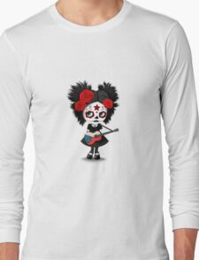 Sugar Skull Girl Playing Czech Flag Guitar Long Sleeve T-Shirt