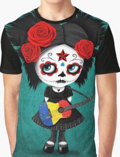 Sugar Skull Girl Playing Romanian Flag Guitar Graphic T-Shirt