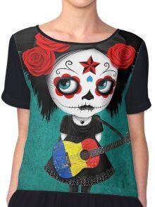 Sugar Skull Girl Playing Romanian Flag Guitar Chiffon Top