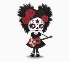 Sugar Skull Girl Playing Danish Flag Guitar Baby Tee