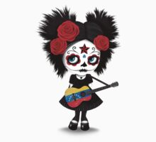 Sugar Skull Girl Playing Venezuelan Flag Guitar One Piece - Long Sleeve
