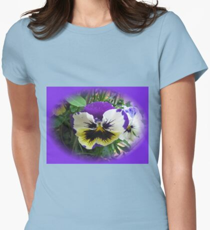 Rainy Day Pansy Vignette Womens Fitted T-Shirt