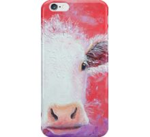 White Cow painting on red background iPhone Case/Skin