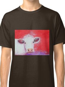 White Cow painting on red background Classic T-Shirt