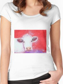 White Cow painting on red background Women's Fitted Scoop T-Shirt