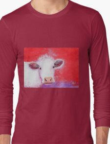White Cow painting on red background Long Sleeve T-Shirt