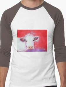 White Cow painting on red background Men's Baseball ¾ T-Shirt