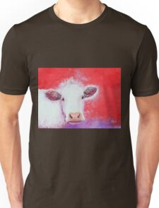 White Cow painting on red background Unisex T-Shirt
