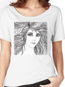 Face of a young woman, girl with fluttering hair Women's Relaxed Fit T-Shirt