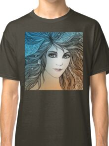 Face of a young woman, girl with fluttering hair (color) Classic T-Shirt