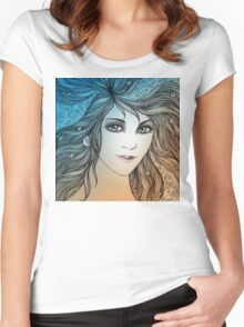 Face of a young woman, girl with fluttering hair (color) Women's Fitted Scoop T-Shirt