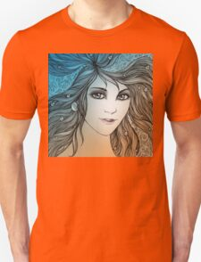 Face of a young woman, girl with fluttering hair (color) Unisex T-Shirt
