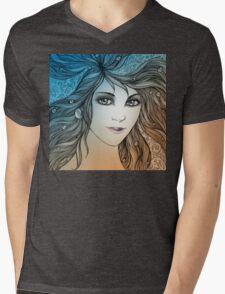 Face of a young woman, girl with fluttering hair (color) Mens V-Neck T-Shirt