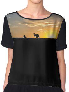 Silhouette of Kangaroos at  Sunset Chiffon Top